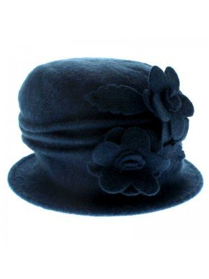 Ladies Wool Beret Hat - Two Flowers Design (Turquoise)