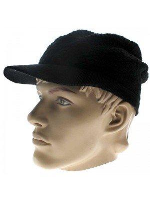 Knitted Peak Hat - Black