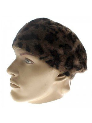 Ladies Wool Beret Hat - Brown with Black Dots