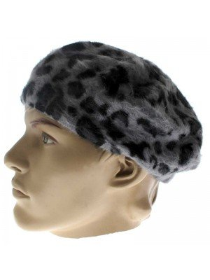 Wholesale Ladies Wool Beret Hat - Grey with Black Dots