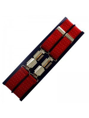Men's Braces Red with Dots Design - 25mm Wide