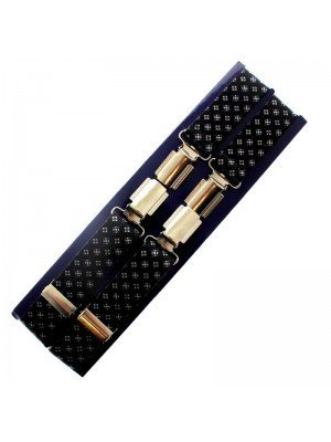 Men's Braces Black with White Dots Design - 25mm Wide