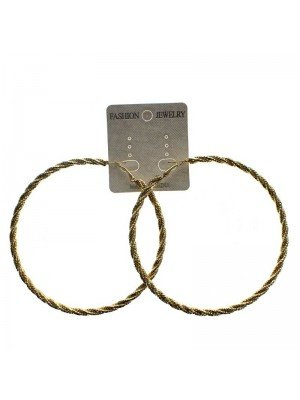 Gold Hoop Earrings Design 2 - 9cm