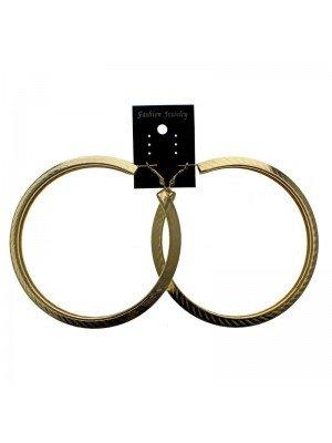 Gold Hoop Earrings Design 2 - 10cm