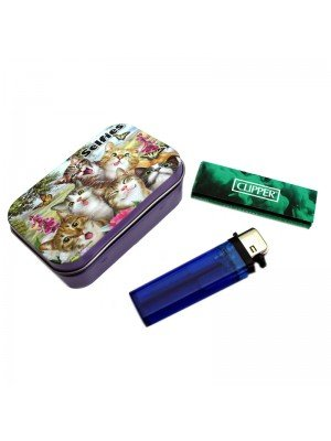 Tobacco Storage Tin with Hinged Lid Gift Set - 1oz - Assorted Designs