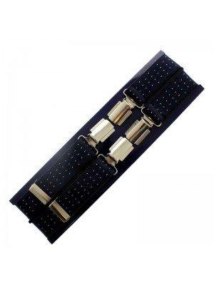 Men's Braces Navy Blue with White Dots Design - 25mm Wide