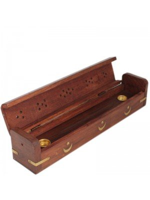 Incense Holder Box - Moon and Star Design 11''