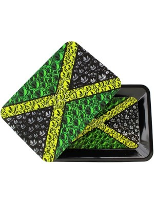 Wholesale Jamaica Metal Rolling Tray With Magnetic Lid - Mini (18 x 12.5 cm)