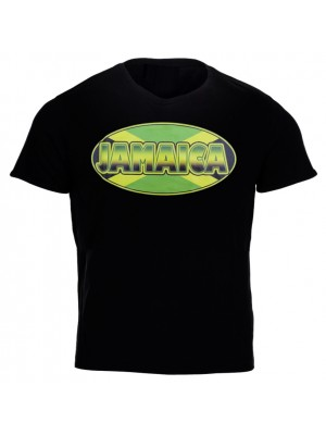 Jamaica Flag Design Black T-Shirt