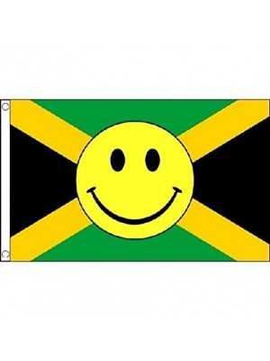 Jamaica Smiley Face Flag - 5ft x 3ft