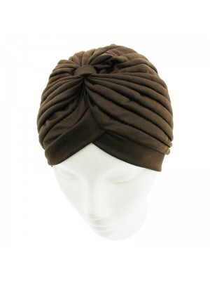 Jersey Turban Hat - Brown