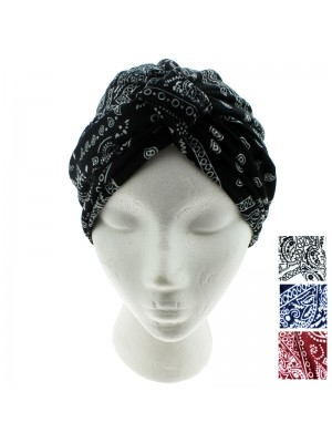 Jersey Turban Hat - Paisley Print (Assorted Colours)