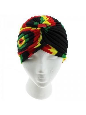 Jersey Turban Hat - Rasta Print