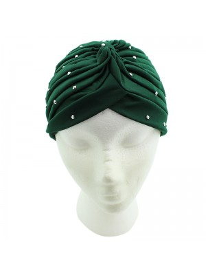 Jersey Turban Hat with Sequins - Green