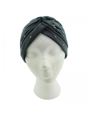 Jersey Turban Hat with Sequins - Grey
