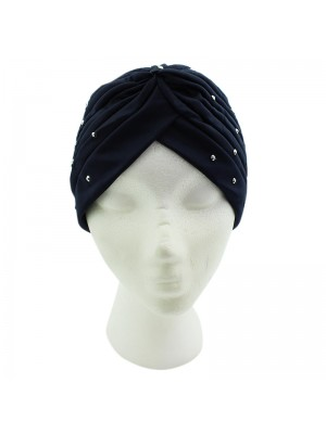 Jersey Turban Hat with Sequins - Navy