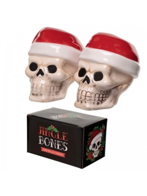 Wholesale Jingle Bones Christmas Skull Ceramic Salt & Pepper Set
