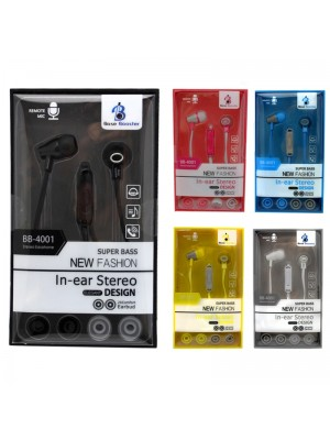 Wholesale Base Booster Earphones BB-4001 - Assorted Colours