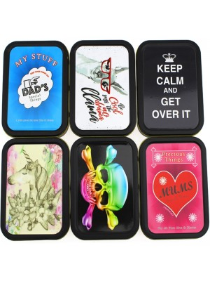 Wholesale Metal Tins With Rubber Seal Black - Assorted Designs (2 Oz)