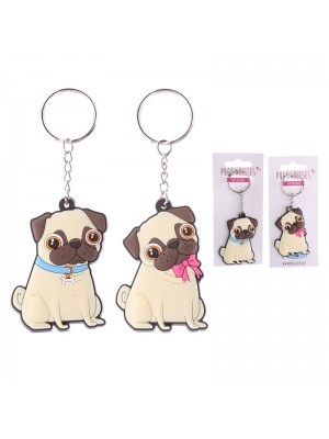 Wholesale PVC Pugs and Kisses Keyring