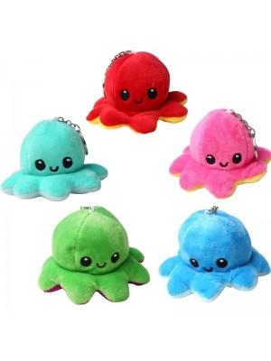 Wholesale Reversible Plush Toy Happy/Sad Mood Octopus Keyrings - Assorted