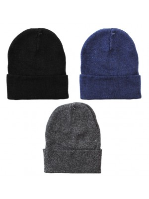 Kids Wool Knitted Thermal Turn Up Beanie Hat - Assorted