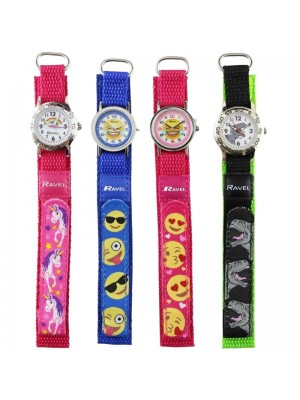 Wholesale Children Ravel Velcro Nylon Watch- Assorted Design & Colours