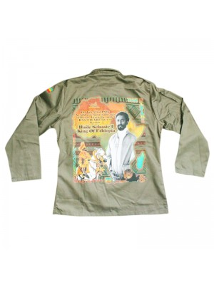 King Of Ethiopia Buttoned Shirt Jacket - Khaki Green (Assorted Sizes)