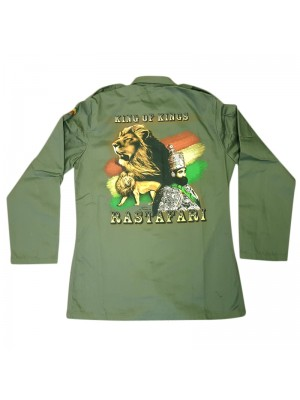 King Of Kings Buttoned Shirt Jacket - Khaki Green (Assorted Sizes)