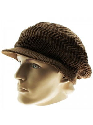 Knitted Peak Hat - Dark Brown