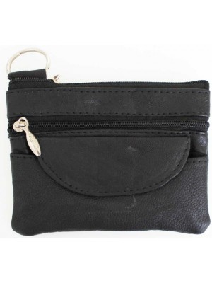 Wholesale Leather Coin Purse-Black(12cm x 9cm)