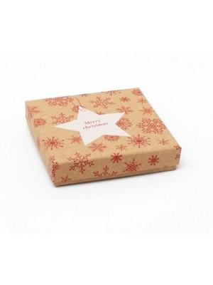 Kraft Gift Box With White Star Print - 9x9x2cm