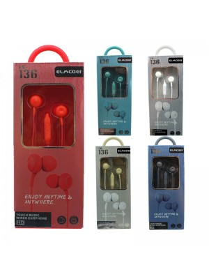 Wholesale Elmcoei Stereo Earphones EV136 - Assorted Colours