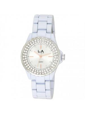 LA.TIME Ladies Crystal Encrusted with White Metal Bracelet