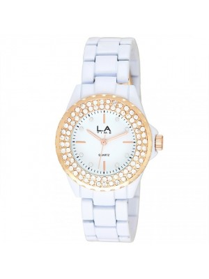 LA.TIME Ladies White Metal Bracelets- Diamante Design