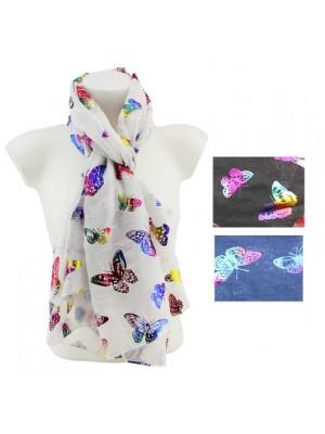 Wholesale Ladies 100% Viscose Butterflies Design Scarf Assorted Colours