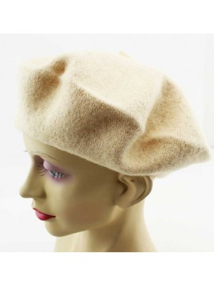Wholesale Ladies 100% Wool Beret Hats - Beige