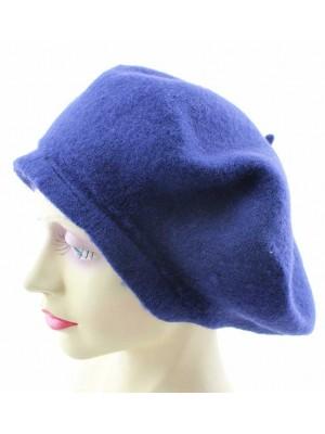 Wholesale Ladies 100% Wool Beret Hats - Navy