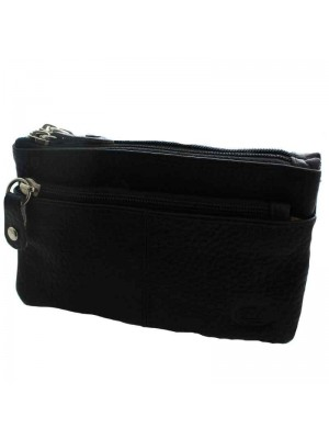 Ladies Leather 3 Compartment Purse - Black