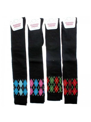 Ladies Argyle Design Over The Knee Socks - Assorted Colours