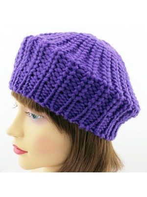 Girls Knitted Beret Hat - Assorted Colours