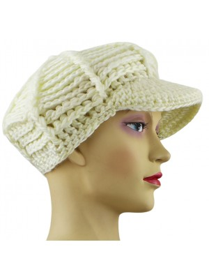 Ladies Bakerboy Hat With Peak - Cream