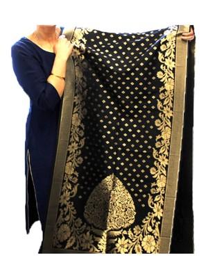 Wholesale Ladies Banarasi Brocket Silk Ethnic Dupatta - Black & Golden