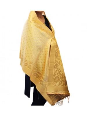 Wholesale Ladies Banarasi Brocket Silk Ethnic Dupatta - Light Gold