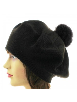 Ladies Knitted Beret Hat With Bobble - Brown