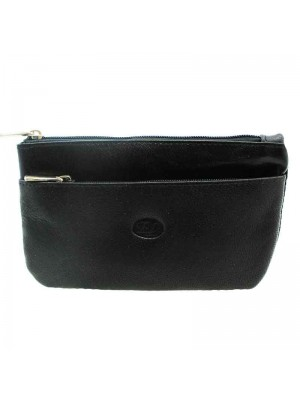 Ladies Black Genuine Leather Coin Purse with 2 Zips