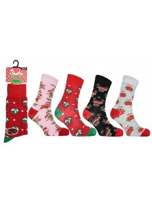 Wholesale Ladies Christmas Socks Assorted Designs(UK 4-8)