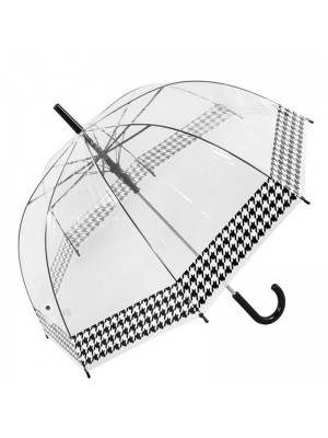 Wholesale Ladies Clear Dome Umbrella with Dogtooth Border