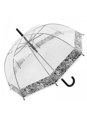Wholesale Ladies Clear Dome with Snakeskin Border Umbrella