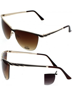 Ladies Clubmaster Style Shape Sunglasses - Assorted Colours
